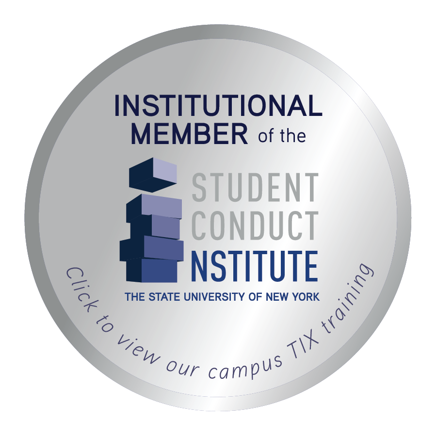 Badge for Institutional Member of the SUNY Student Conduct Institute, click to view campus TIX training